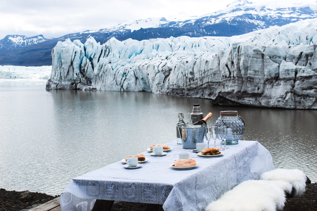 Dining table in front of a glacier edge.